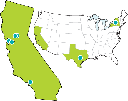 Frontier Energy office locations in California, Texas, and New York