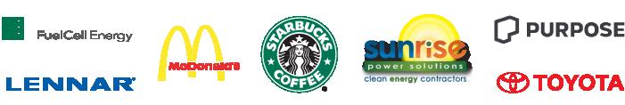 FuelCell Energy, Lennar Homes, McDonald's, Purpose, Sunrise Power Solutions, Starbucks, Toyota