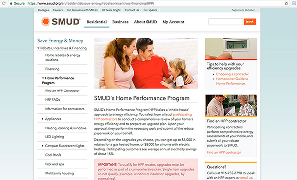 SMUD home performance program