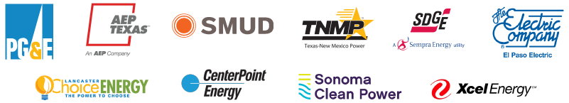 PG&E, SMUD, Lancaster Choice Energy, CenterPoint Energy, San Diego Gas & Electric, Texas New Mexico Power, Sonoma Clean Power, AEP Texas, Xcel Energy, The Electric Company El Paso Electric
