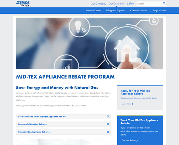 Atmos Energy's Mid-Tex Gas Appliance Rebate Program