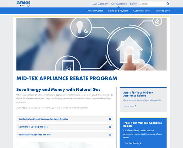 Atmos Energy's Mid-Tex Gas Appliance Rebate Program