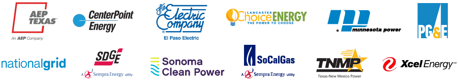 AEP Texas, Center Point Energy, The Electric Company El Paso Texas, Lancaster Choice Energy, Minnesota Power, PG and E, National Grid, San Diego Gas and Electric, Sonoma Clean Power, SoCalGas, Texas New Mexico Power, Xcel Energy