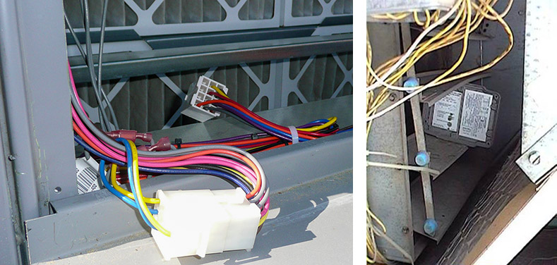 Left photo: Wire Harness not connected / Right photo: Jammed damper