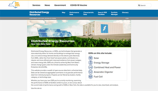 NYSERDA Distributed Energy Resources Integrated Data System website graphic