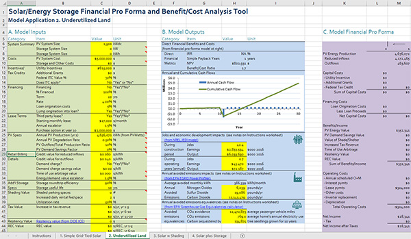 Solar/Energy Storage Financial Pro Forma and Benefit/Cost Analysis Tool